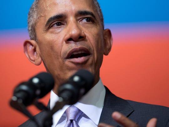 U.S. President Barack Obama speaks at the Lao National