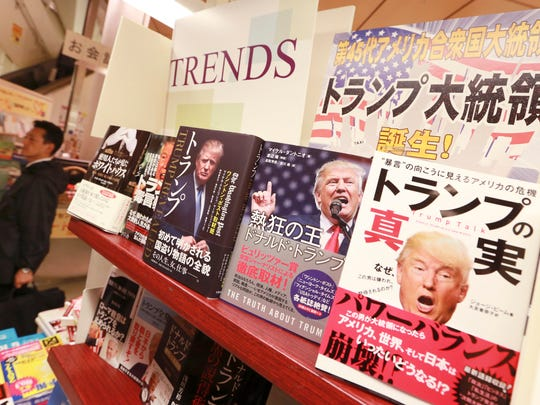 Books on President-elect Donald Trump are displayed