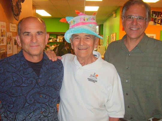 Alan Winslow celebrated his 90th birthday five years ago at Patchwork Central, a place he calls his home and solace. Winslow is pictured center with his two sons, David Winslow on left and Mike Winslow on right.