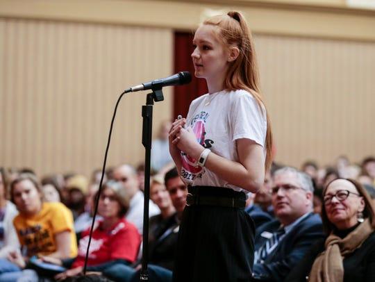 Central High School student Amaya Holdt speaks directly