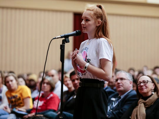 Central High School student Amaya Holdt speaks directly to local and state officials at a forum regarding the issue of gun violence on Thursday, March 22, 2018. Students organized the forum in the wake of the Florida school shooting.