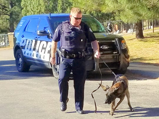 Ruidoso Officer Joseph Bailey and his partner Spectre performed a few of their training routines.