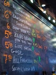 The chalk board Finnigan's Pub in Burlington lists