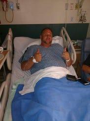 Bill Robinson Jr. in a hospital after the Las Vegas