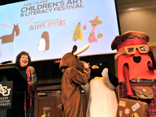 Celebrate the Arts in Abilene luncheon emcee Kaye Price-Hawkins was upstaged by characters from Oliver Jeffers' books on Wednesday.