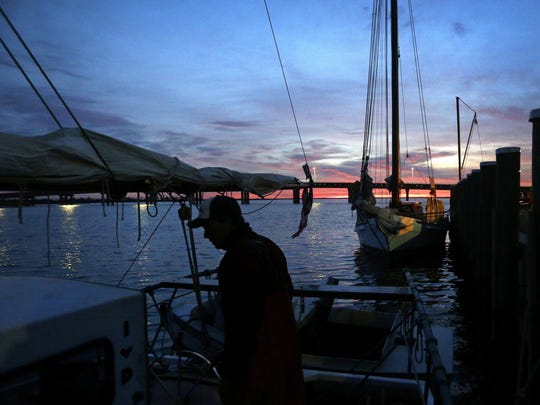 In this Dec. 20, 2013 file photo, Capt. David Whitelock prepares for a day of oyster dredging on the skipjack Hilda M. Willing as the sun begins to rise over Deal Island, Md.