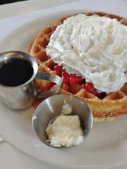 JT's menu also includes items for patrons with a sweet tooth, such as the Belgian waffles with whipped cream.