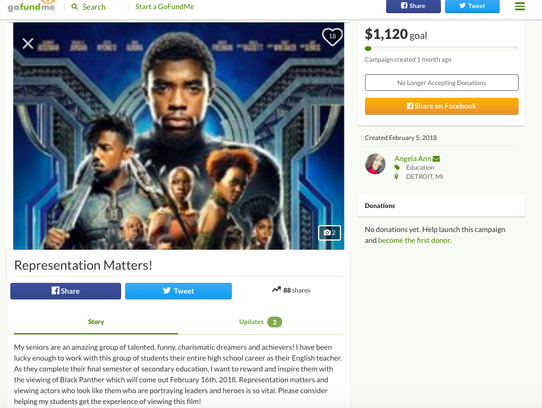A GoFundMe account created by former Old Redford Academy teacher Angela Stanley to take her students to see Black Panther on March 7, 2018.