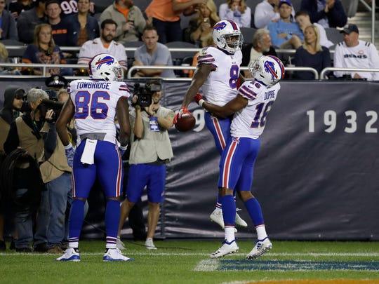 Buffalo Bills wide receiver Robert Foster (8) celebrates