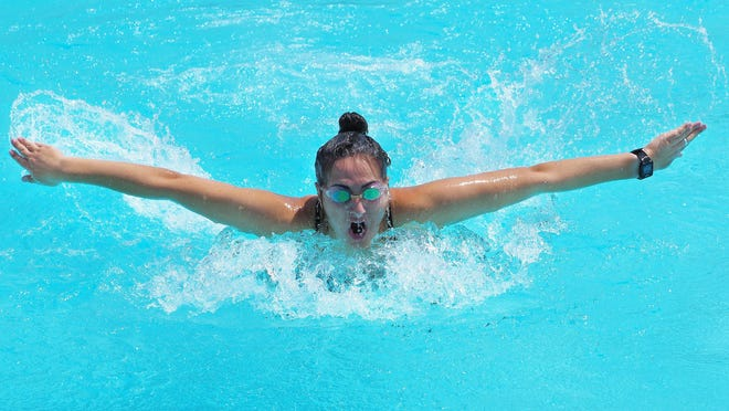 A swimmer at Portsmouth's Peirce Island Outdoor Pool during a prior summer.