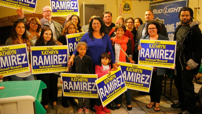 Salinas Union High School District Board Trustee Kathryn Ramirez celebrates with supporters during elections in this file photo.  Ramirez was handed a notice of intention torecall petition at a board meeting this week, though it must be refiled after failing to meet a procedural requirement.