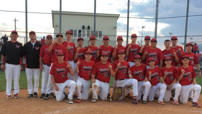 Wapahani poses for photos after winning the Lapel Sectional title over Frankton 4-2 on Monday.