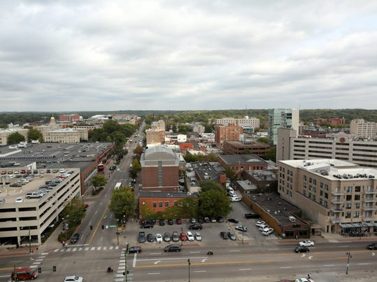Downtown Iowa City is seen from the Vue Rooftop at