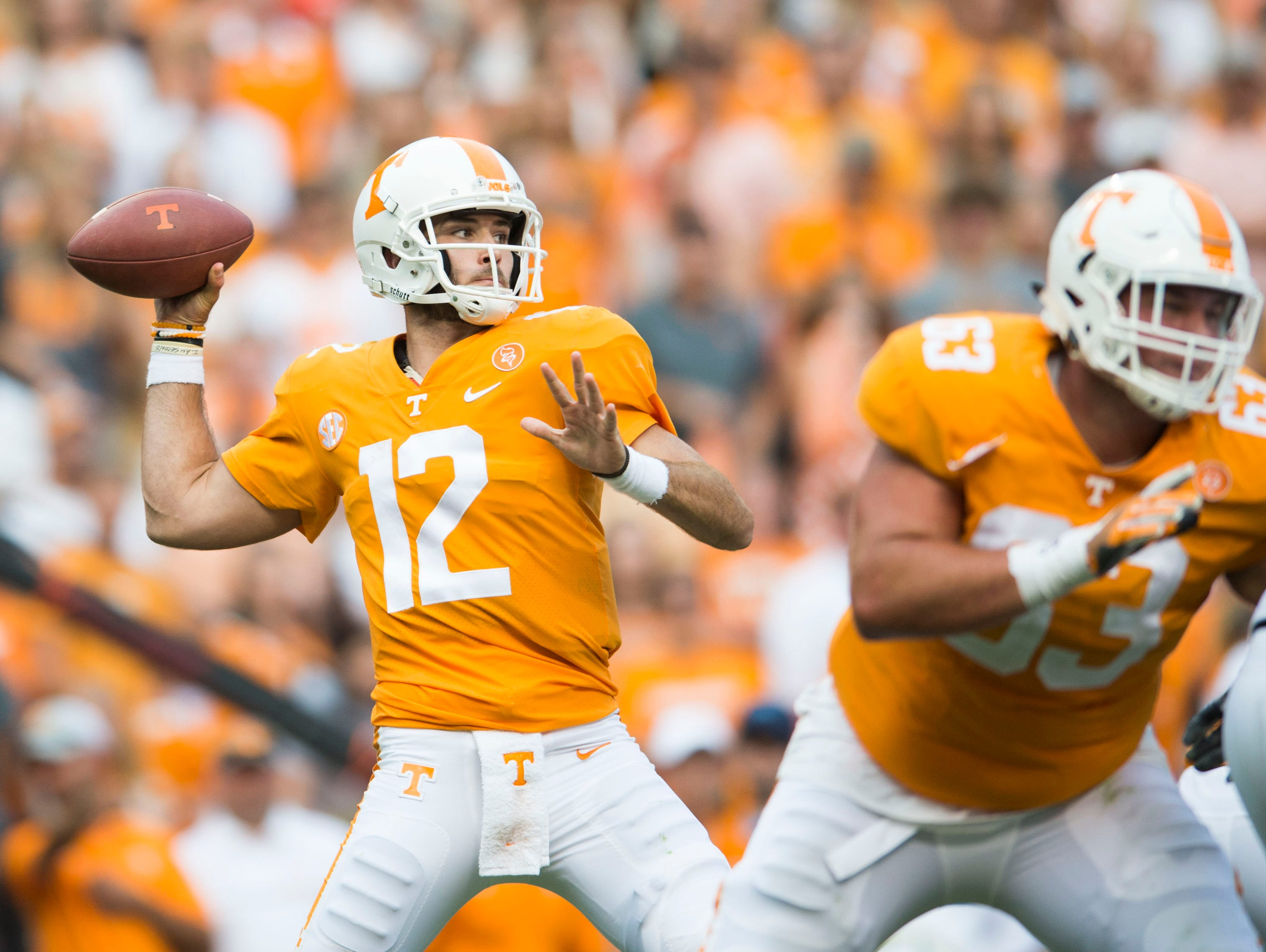 Vols quarterback Quinten Dormady (12) throws against Indiana State on Saturday, Sept. 9, 2017.