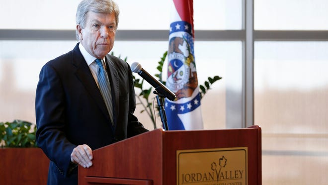 Sen. Roy Blunt speaks at a March press conference at Jordan Valley Community Health Center in Lebanon about the coronavirus response efforts. Blunt objects to a move in the Senate to remove statues of Confederates from the U.S. Capitol.