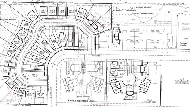 Conceptual layout for Vintage Willow subdivision