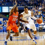 Former Texas Arlington point guard Johnny Hill, shown here against Kentucky in 2014, is expected to visit Purdue this weekend.