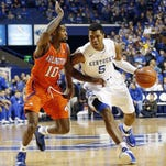 Purdue graduate transfer guard Johnny Hill, shown here playing defense for Texas Arlington last season, is settling in with his new team this summer.