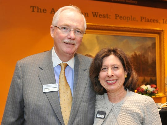 Corning Inc. Vice Chairman James Flaws and his wife, Marcia Weber, attend an event at the Rockwell Museum in Corning.