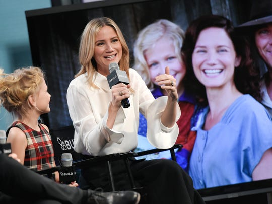 "Actors Alyvia Alyn Lind, left, and Jennifer Nettles participate in AOL's BUILD Speaker Series to discuss, ""Dolly Parton's Coat of Many Colors"" television movie, at AOL Studios on Dec. 9, 2015, in New York."
