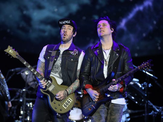 Avenged Sevenfold guitarists Zacky Vengeance and Synyster Gates Wednesday, January 24, 2018 at the Resch Center in Ashwaubenon, Wis.