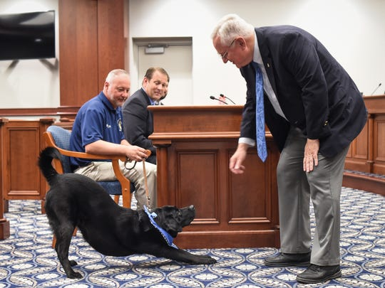 "State Sen. Rick Jones, R-Grand Ledge, right, greets Eaton County therapy dog ""Reagan"" during a Senate Judiciary Committee hearing on Tuesday, May 29, 2018 at the Senate offices in downtown Lansing. The committee, which Jones has chaired since 2011, was considering legislation that would allow the dogs to accompany victims in court."