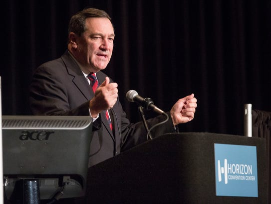 Indiana Senator Joe Donnelly speaks to the crowd gathered