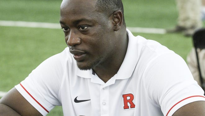 Defensive backs coach Aaron Henry at Rutgers football media day in Piscataway  on August 14, 2016.