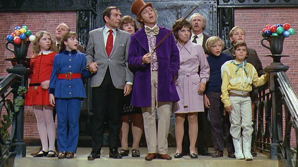 """Julie Dawn Cole (far left as Veruca Salt) and Paris Themmen (far right, as Mike TeaVee) will appear at the Alamo Drafthouse Cinema-Montecillo for question-and-answer sessions before """"Willy Wonka & the Chocolate Factory."""""""