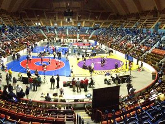 The District 3 wrestling championships began Friday at Hersheypark Arena.