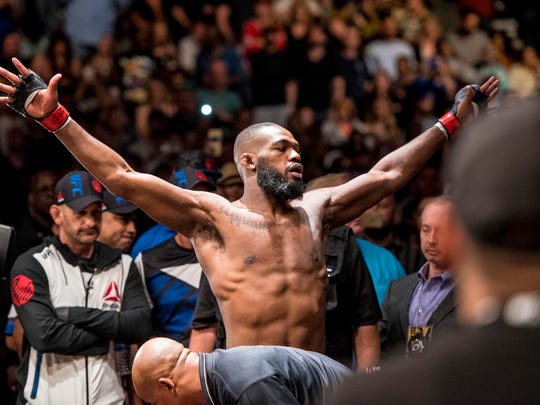 Apr 23, 2016; Las Vegas, NV, USA; Jon Jones (red gloves) before his fight against Ovince Saint Preux (blue gloves) during UFC 197 at MGM Grand Garden Arena. Mandatory Credit: Joshua Dahl-USA TODAY Sports
