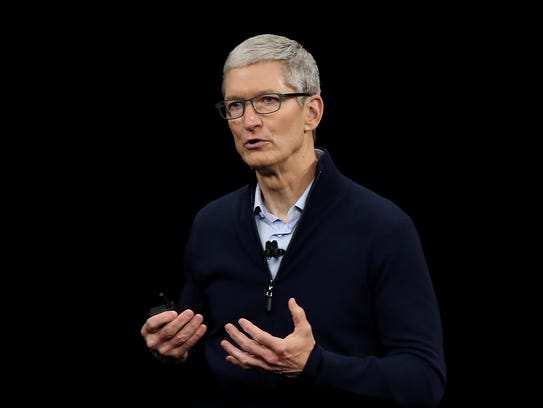 Apple CEO Tim Cook speaks during an Apple special event at the Steve Jobs Theatre on the Apple Park campus. He took aim at the Facebook data scandal over the weekend, saying the situation called for heavier data privacy rules.