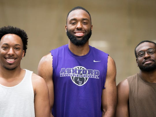 From left, Kedrin Barbour, Anthony Swanigan and Jamal