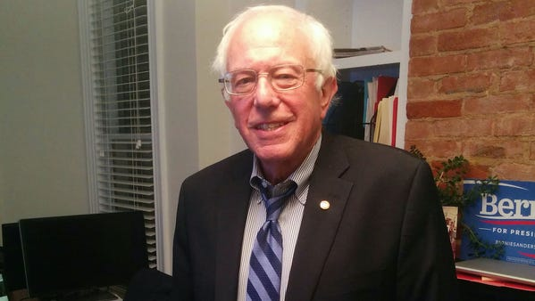 Vermont Sen. Bernie Sanders tweets out a picture of himself Wednesday evening.