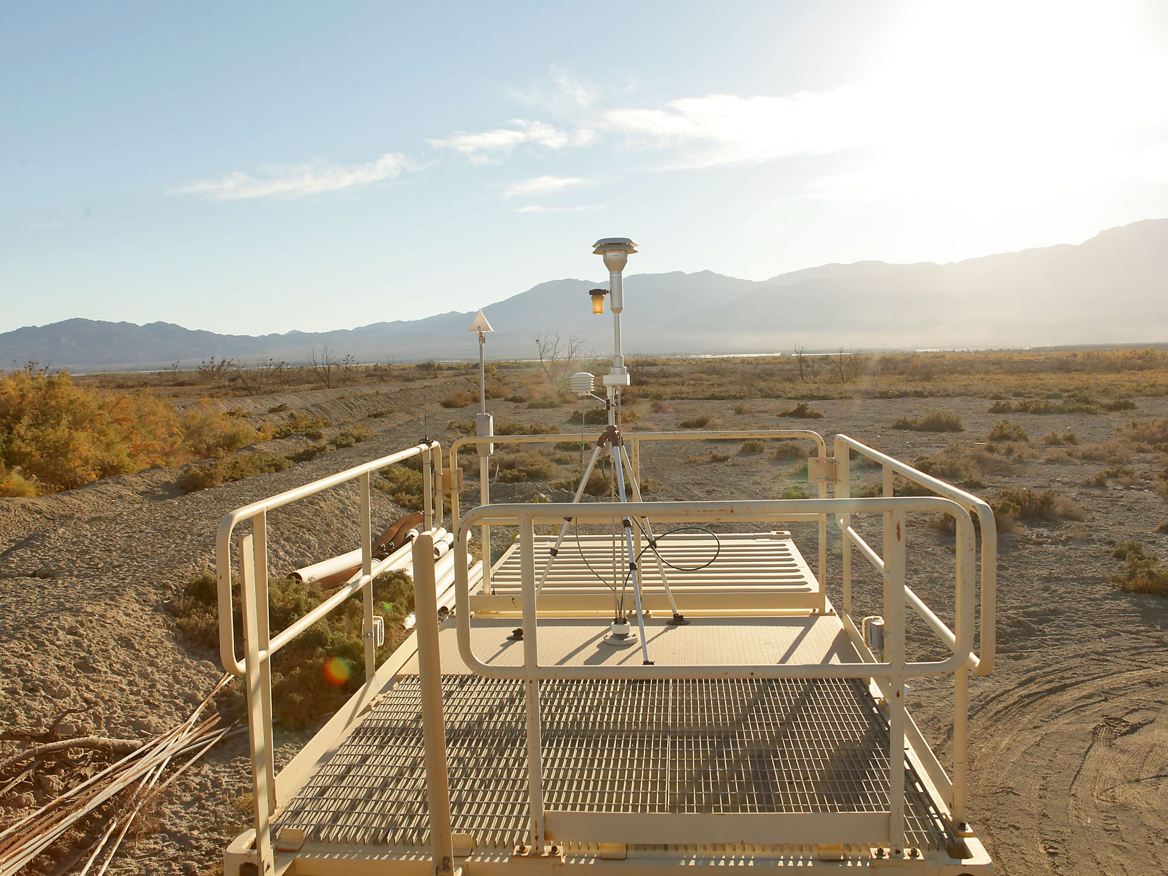 A monitoring station measures dust and weather conditions near the northern shore of the Salton Sea, on Torres Martinez tribal land.