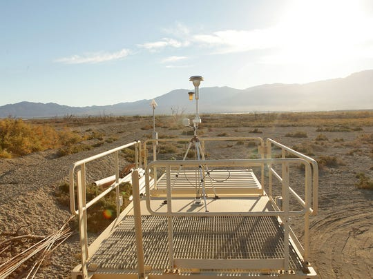 A monitoring station measures dust and weather conditions near the northern shore of the Salton Sea on Torres Martinez tribal land.