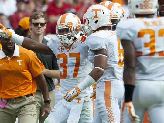 Tennessee defensive back Brian Randolph (37) celebrates intercepting a pass against Alabama at Bryant-Denny Stadium in Tuscaloosa, Ala. on Saturday October 24, 2015. (Mickey Welsh / Montgomery Advertiser)