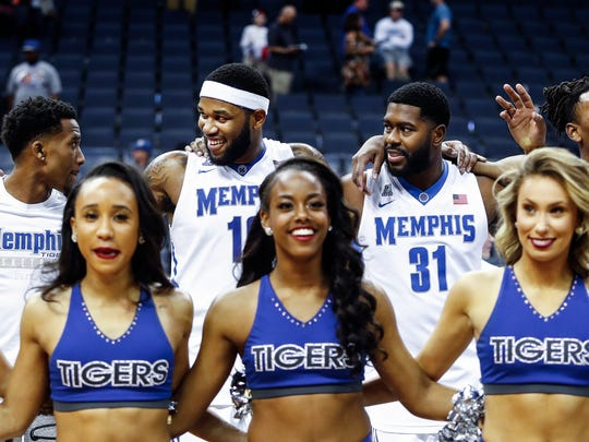 Memphis teammates (left to right) Jeremiah Martin,