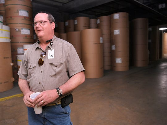 GannettPublishing Services Regional Director Tom Gregory talks about the history of the Tennessean's newsprint warehouse on 11th Ave S and McGavock Street in Nashville on Tuesday June 12, 2018.