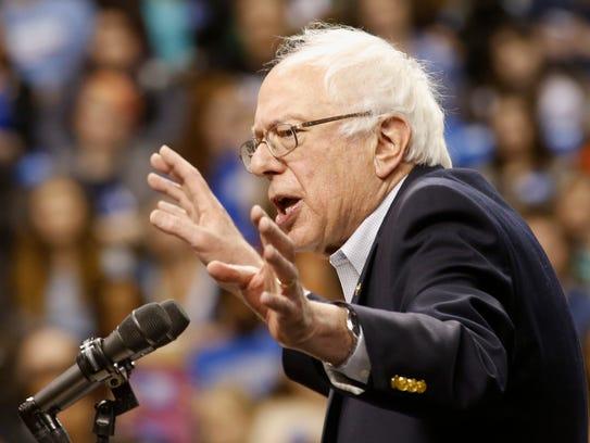 Bernie Sanders, at rally in Norfolk, Va., Feb. 23,