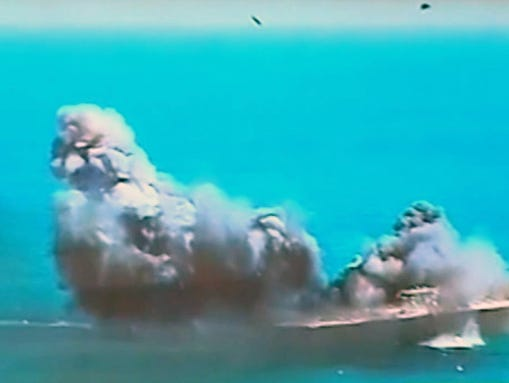 This image taken from Iranian state TV, shows damage
