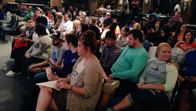 Louisiana College students and community members listen to speakers Thursday at an event intended to reduce the stigma surrounding mental illness.