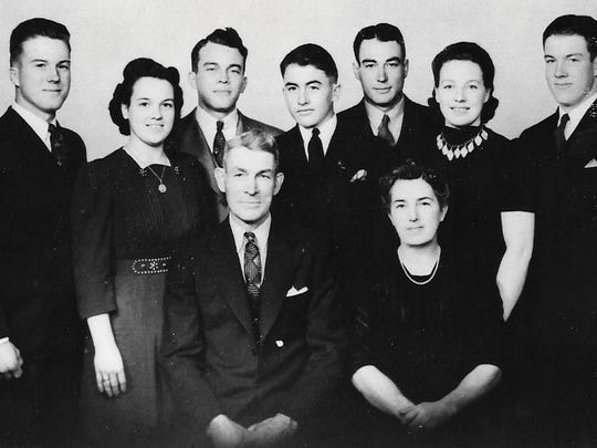 Last photo of the Clabe and Leora Wilson family, taken November 1941 by Edmonsons Photo, Perry, Iowa Back: Danny Wilson, Darlene (Wilson) Scar, Donald Wilson, Junior Wilson (still in high school), Delbert Wilson, Doris Wilson, Dale Wilson  (Darlene's twin). Seated: Clabe and Leora Wilson