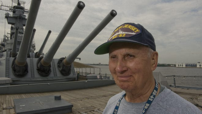 Battleship New Jersey Museum and Memorial volunteer Russell Collins Jr. of Palmyra aboard the ship on which he also served during World War II and as a museum volunteer for more than 17 years.