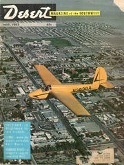 May 1963 cover of Desert Magazine showing glider flying over Palm Springs.