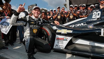 Ed Carpenter Racing IndyCar driver Ed Carpenter (20) celebrates winning the pole position for the 102nd Indianapolis 500 during Pole Day at the Indianapolis Motor Speedway on Sunday, May 20, 2018. for the Indianapolis 500.