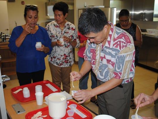 Food scientist and associate professor Jian Yang portions