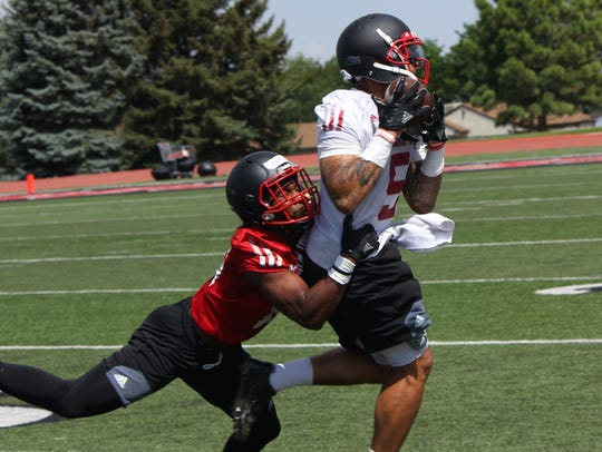 Elijah Givens pulls in a pass Wednesday during SUU