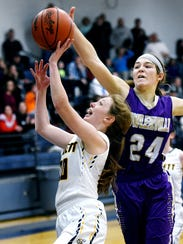 Haslett's Taylor Rahl, left, is blocked by Fowlerville's