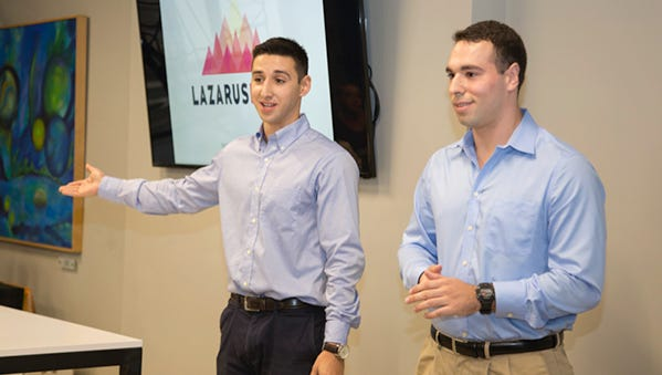 Pictured presenting at last year's pitch party are Matthew Sobel and Matthew Rojas, who started the nonprofit Lazarus Rising.